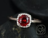 Bella 6mm 14kt Rose Gold Ruby and Diamonds Cushion Halo Plain Band Engagement Ring (Other metals and stone options available)