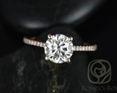 Eloise 7.5mm Size 14kt Rose Gold Round FB Moissanite and Diamonds Cathedral Engagement Ring (Other metals and stone options available)