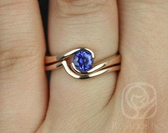 Rosados Box Vadim 5mm 14kt Rose Gold Round Blue Sapphire Single Twist Wedding Set