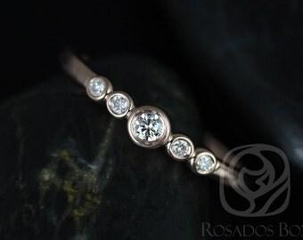 Rosados Box Bubbly 14kt Rose Gold Round Bezel Diamond Stack Band