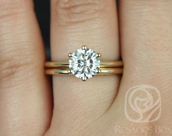Skinny Webster 7.5mm 14kt Yellow Gold F1- Moissanite Six-Prong Webbed Classic Wedding Set (Other metals and stone options available)