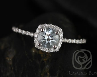Barra 5mm 14kt White Gold Round Aquamarine and Diamonds Cushion Halo Engagement Ring (Other Stone and Metals Available)