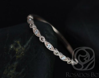 Ultra Petite Bead & Eye 14kt Rose Gold Vintage WITH Hand Milgrain MIXED Diamonds HALFWAY Eternity Band (Available in other metals)