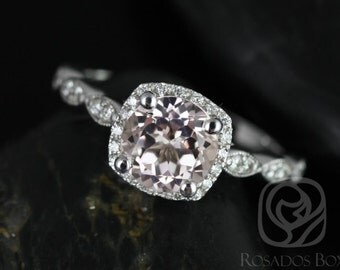 Christie 7mm 14kt White Gold Round Morganite and Diamonds Cushion Halo WITH Milgrain Engagement Ring