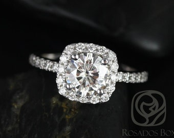 Rosados Box Colbie 7mm 14kt White Gold Round F1- Moissanite and Diamond Cushion Halo Engagement Ring