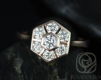 Rosados Box Mosaic Grande 14kt Rose Gold WITHOUT Milgrain Diamonds Cluster Ring