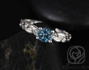 Rosados Box Prudence 5mm 14kt White Gold Round London Blue Topaz Braided Engagement Ring