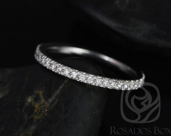 Rosados Box 14kt White Gold Matching Band to Pernella/Chantelle/Mariah Glitter Pave ALMOST Eternity Band
