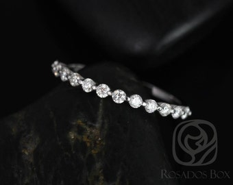 Rosados Box Petite Naomi/Petite Bubble & Breathe 14kt White Gold Diamond HALFWAY Eternity Band