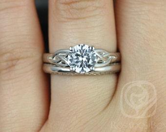 Rosados Box McCara 7mm & Alexis 14kt White Gold Round White Sapphire Celtic Knot Wedding Set