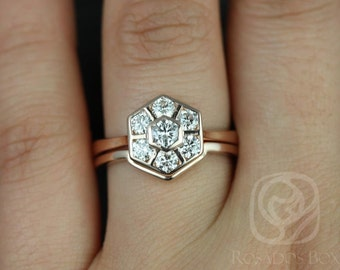 Mosaic Grande 14kt Rose Gold WITHOUT Milgrain Diamonds Cluster Wedding Set (Available in other metals)