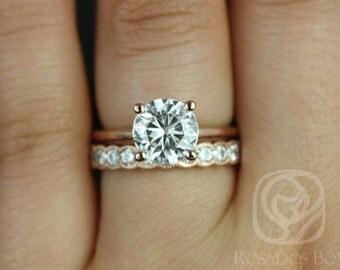 Rosados Box DIAMOND FREE Skinny Alberta 8mm & Cordelia 14kt Rose Gold Round F1- Moissanite Wedding Set