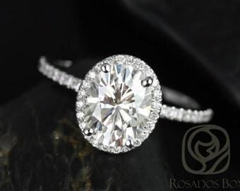Rosados Box Federella 9x7mm Platinum Oval F1- Moissanite and Diamond Halo Engagement Ring
