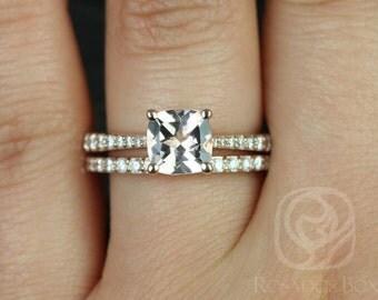 Rosados Box Taylor 7mm 14kt Rose Gold Cushion Morganite and Diamonds Cathedral Wedding Set