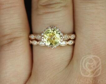 Rosados Box Katya 2.06cts 14kt Rose Gold Sunny Sapphire and Diamonds Kite Cushion Halo WITH Milgrain Wedding Set
