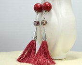 Dark red silk tassel earrings Long tassel earrings Boho chic beaded tassel earring Lightweight long dangle earring Bohemian hippie jewelry