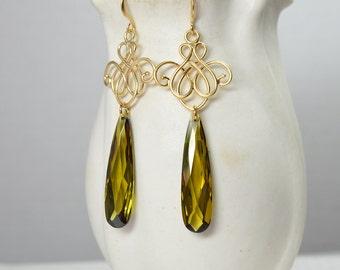 Matte gold chandelier earrings Long CZ earrings Crystal teardrop earrings Dressy gold filigree earrings Olive green cubic zirconia earrings