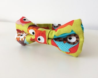 Owl Bow Tie for Baby - Toddler - Boys Bow Ties - Colourful - Green - Fun Pattern - Adjustable Velcro - Woodland Bow Tie - 0-2 Years