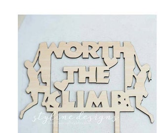 Worth the Climb - Rock Climbing Couple - Cake Topper