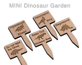 Alder Wood Laser Cut Mini Dinosaur Garden SIgns
