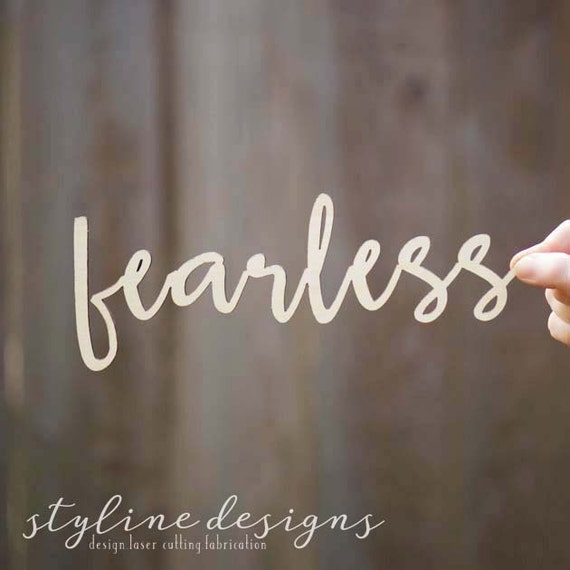 Fearless Motivational Word Typography Wood Word Cut Wall Art