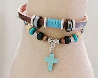 083 Women's brown leather bracelet Cross bracelet Charm bracelet Beads bracelet Christian bracelet Religious jewelry For women and girls