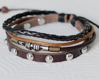 443 Men bracelet Women bracelet Rivets bracelet Ropes bracelet Leather bracelet Braided bracelet Woven bracelet Fashion bracelet
