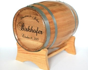 Wine Barrel Wedding Card Holder ~ Engraved With Names and Wedding Date