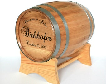 Wine Barrel Wedding Card Holder - Engraved With Names and Wedding Date - Wedding Barrel Card Box
