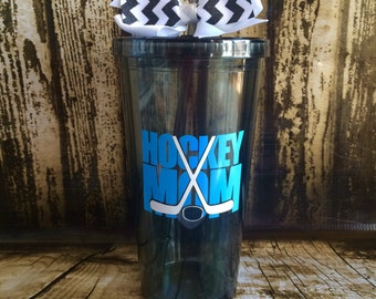 Customized Hockey mom tumbler, 20oz Acrylic Cup with screw on lid and straw.