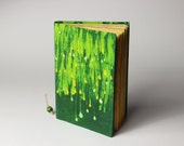 Green Batik Journal, diary, notebook, old paper, batik fabric, blank book, travel journal