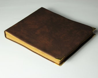 Leather guest book, album,  blank book, wedding guest book, old paper