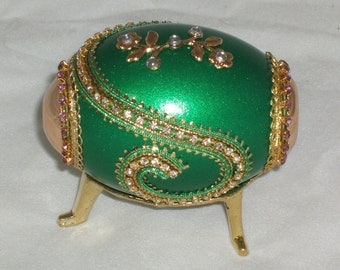 Decorated Duck Egg Kaleidoscope - Jade Green - Kaleidoscope with Gemstones - Styled After A Faberge Egg