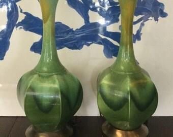 Green Drip Glaze Lamps, Pr