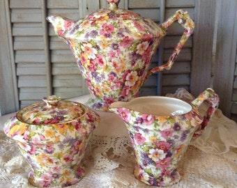 Staffordshire China Tea Set, James Kent Chintz Pattern Du Barry, Made in England, Floral Design