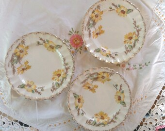 Vintage American Limoges Porcelain China Dessert Plates Yellow Daisy Pattern with 22KT Gold Detail Cottage Decor Kitchen Serving USA
