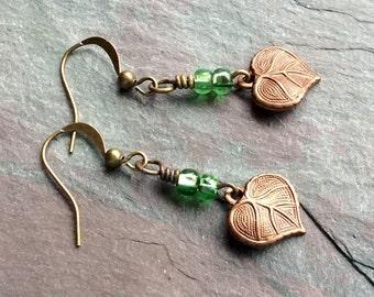 "Leaf Earrings / Antique Brass / Green / Seed Beads / Drop / Dangle / Simple - 1 5/8"" long - E40"