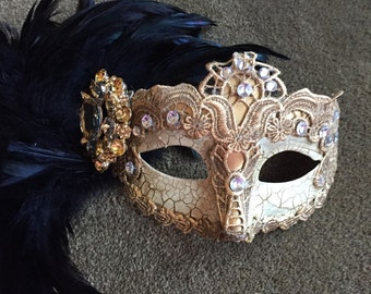 Gold Mask- Mardi Gras Mask- Gold black Feather Mask - Save Venice -Masquerade Mask- Costume party mask- Masquerade Ball- Custom Mask