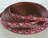 "3/8"" Ribbon by the Yard-Pink & Brown horses-horse grosgrain ribbon-supplies by Ribbon Lane Supplies on Etsy"