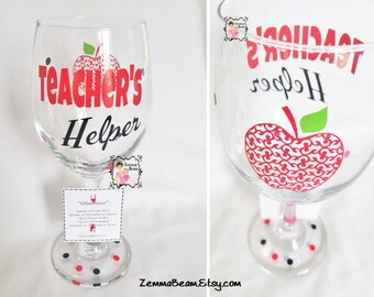 Teachers helper wine glass with name included