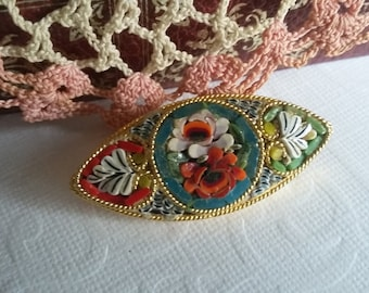 Vintage Micro Mosaic Oval Brooch Pin With Latch Hook, Women  Gift