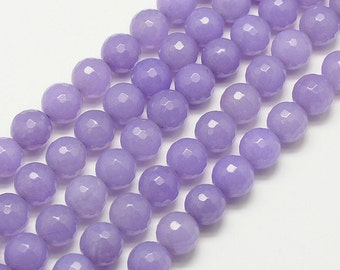 Faceted Jade Beads, Lilac, 8mm Round - 15 Inch Strand - eJFR-M09-8