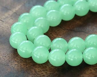 Dyed Jade Beads, Milky Light Green, 10mm Round - 15 inch strand - eSJR-G21-10