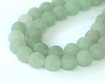 Matte Green Aventurine Beads, 10mm Round - 15 inch Strand - eGR-AV003-10