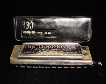 Vintage M. Hohner The Chromonica Chromatic Harmonica Model 260 Key of C 1970s Made in Germany with Original Case Excellent Condition