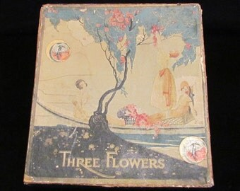 1910s Richard Hudnut Three Flowers Gift Box Set with Toilet Water Bottle, Face Powder Box, Rouge Compact Very Good to Excellent Condition