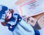 Collector's Dolls By Bradley Mary Still in Box with certificate and tag Big Eyes 60s Pose Blue Cottage Style Maiden Kawaii Girl