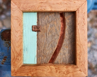 """Reclaimed Wood and Copper MicroArt """"35"""""""