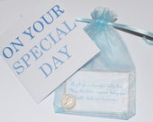 Baby Lucky Sixpence. Good Luck Charm. New Baby Boy or for Christening or baptism. With choice of card, laminated verse and organza bag.