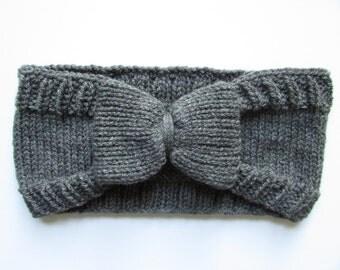 Knit Bow Headband, Womens Big Bow Hand Knitted Winter Earwarmer- Grey Marl (Acrylic, Wool Free- Vegan Friendly)